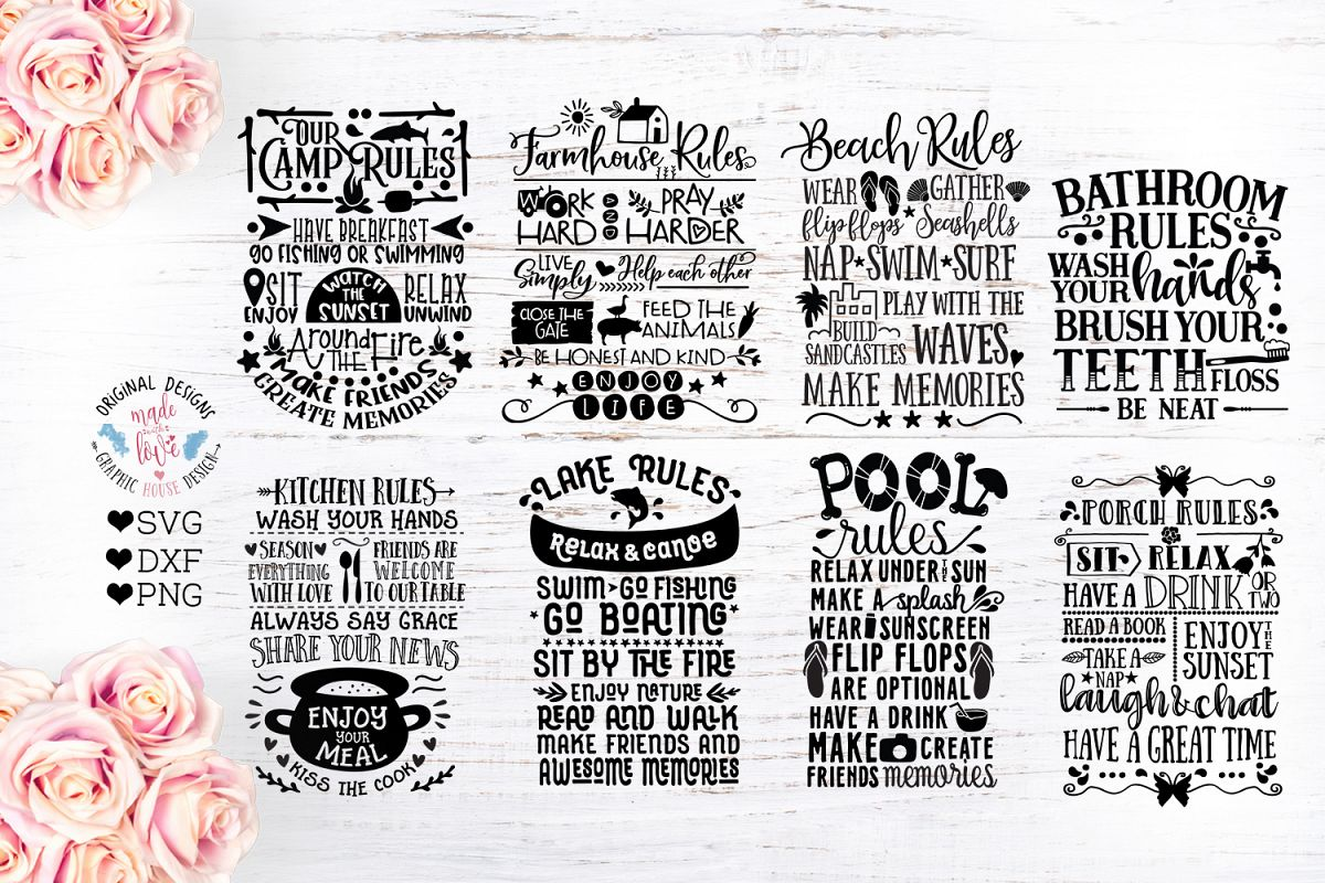 Home and Summer Decor Rules Cut File Bundle example image 1