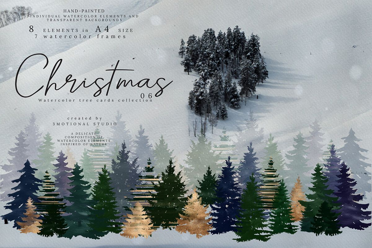 Christmas Watercolor Tree cards collection 06 high res png example image 1