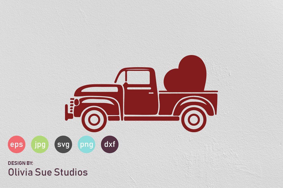 Vintage Valentines Truck SVG Cut File example image 1
