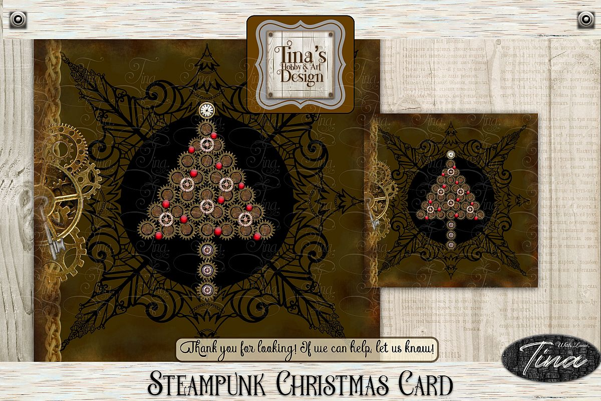 Christmas Tree Detailed Steampunk Christian Gears 101418CC example image 1
