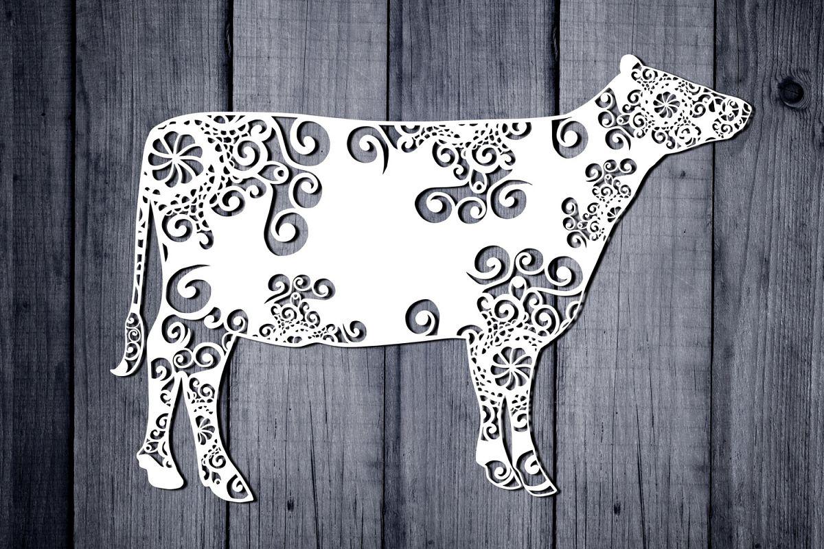 Mandala Cow Svg, Cow Svg, Mandala Svg, Zentangle Svg, Boho example image 1