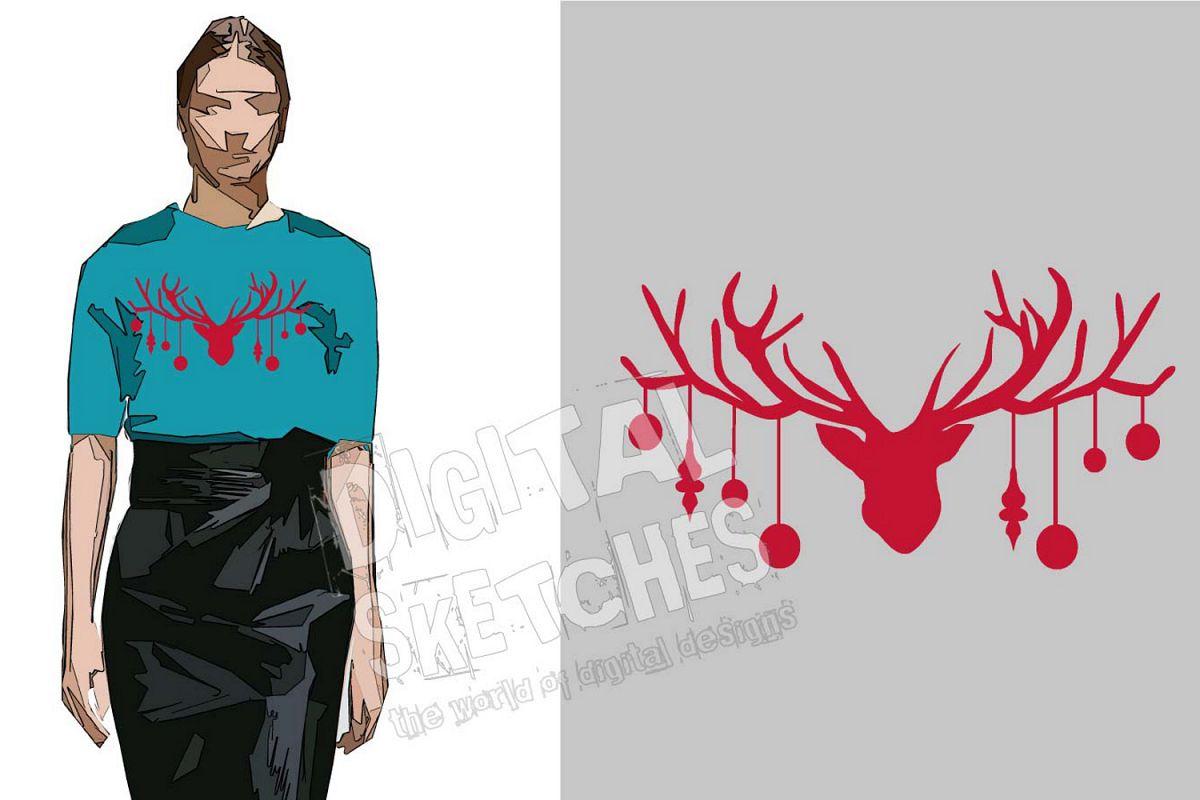 Deer Head Antlers Bells Cut File Vector Graphics Illustratio example image 1