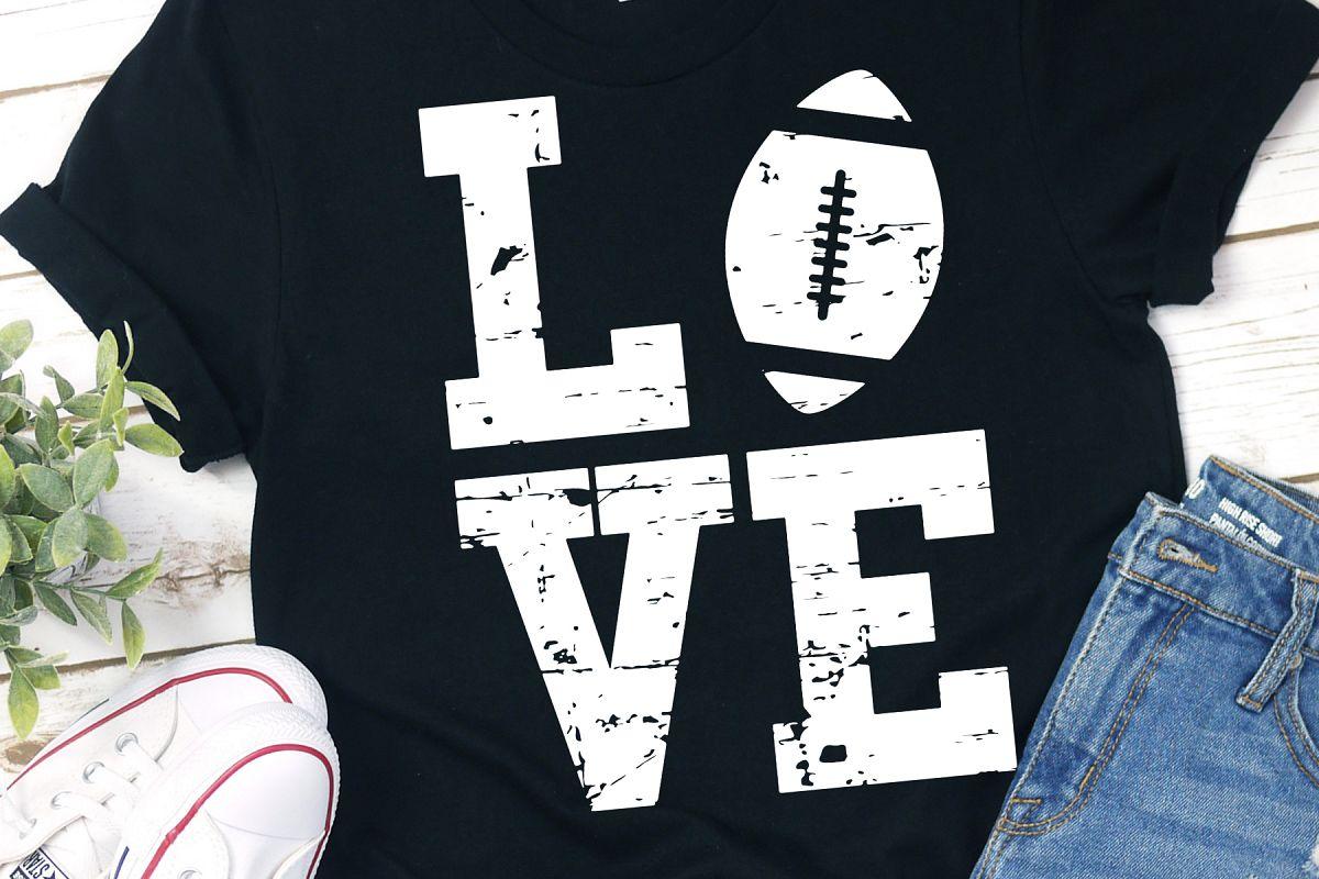 Grunge Distressed Love American Football SVG Bundle example image 1