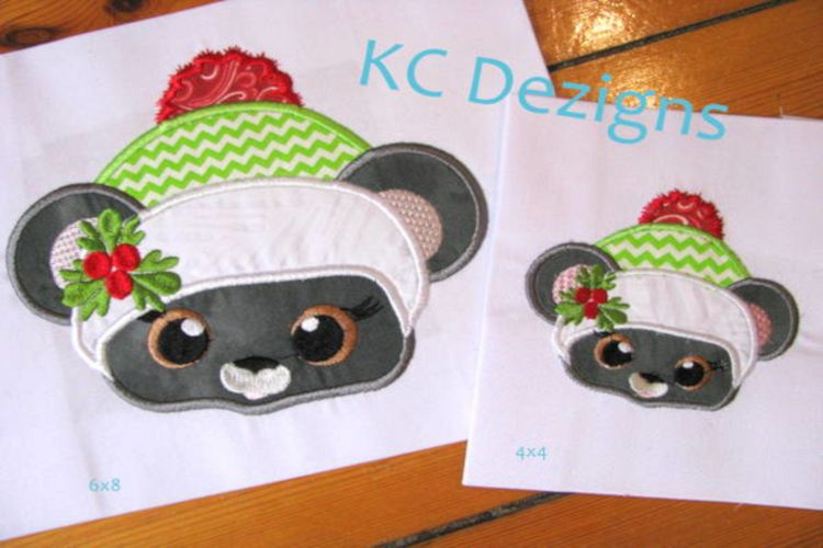 Christmas Critter Mouse Machine Applique Embroidery Design example image 1