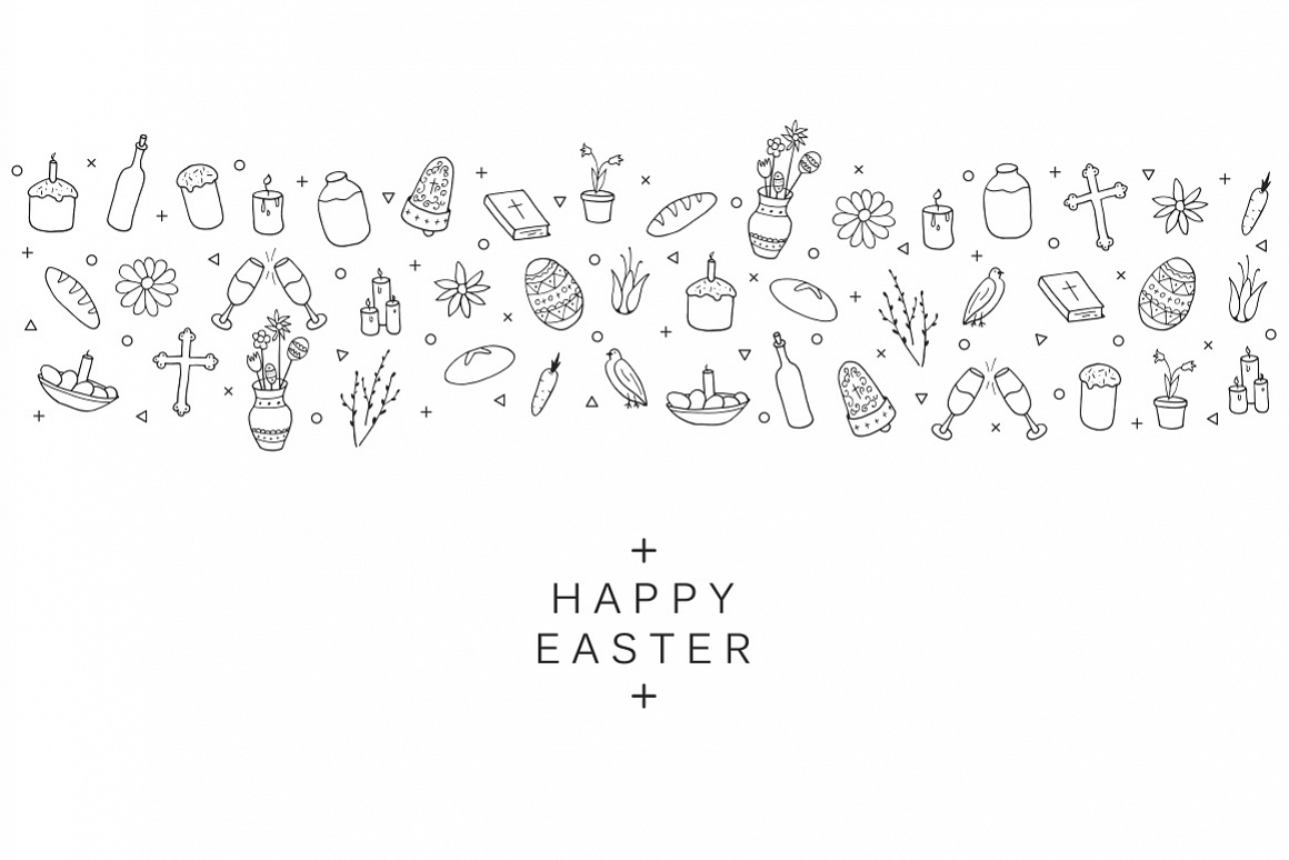 Hand drawn Easter card. example image 1