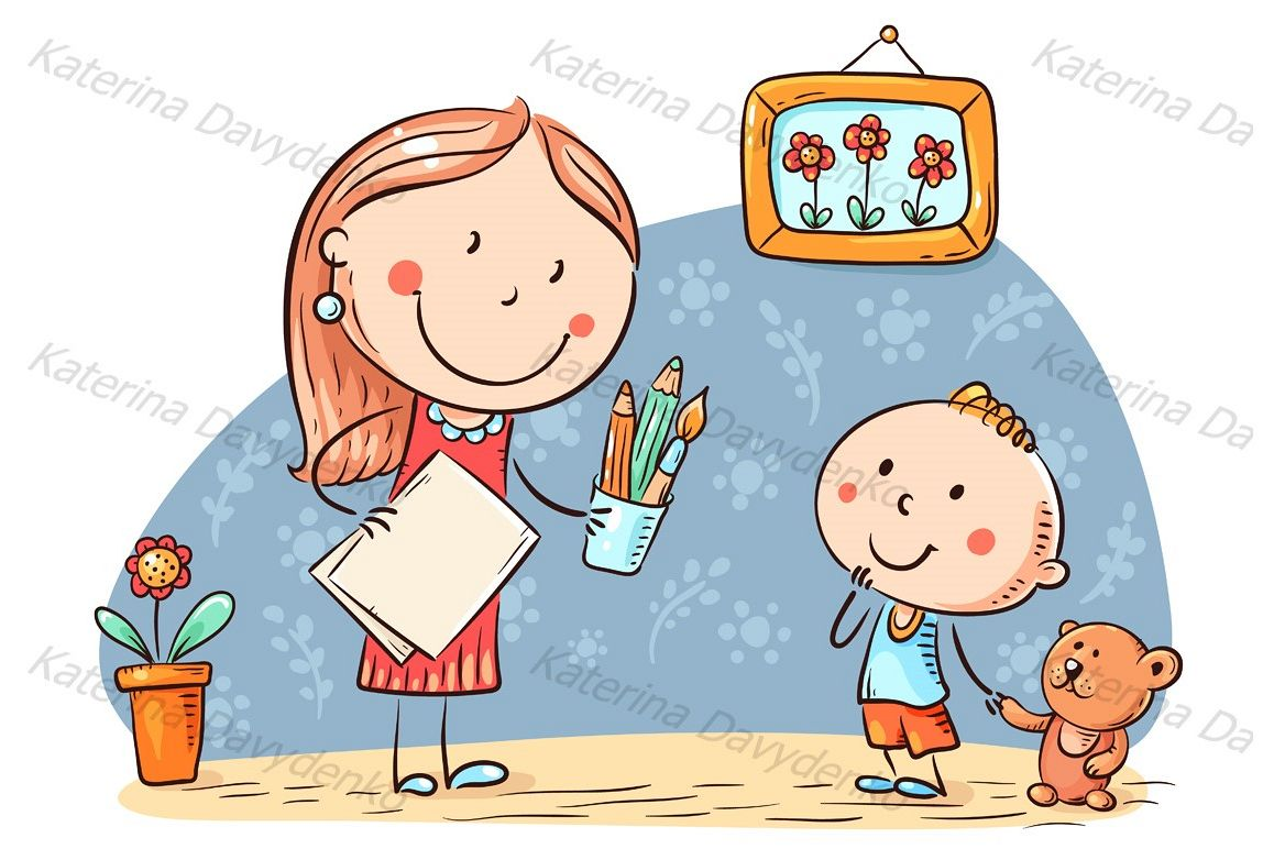 Teacher or mother encouraging the kid to draw example image 1