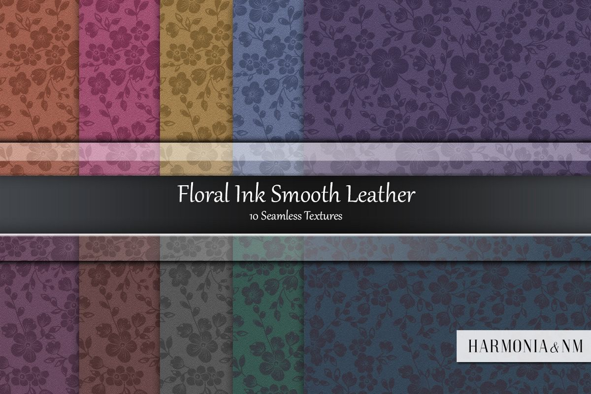 Floral Ink Smooth Leather 10 Seamless Textures example image 1