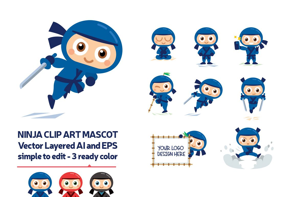 Ninja Vector Mascot in 3 Ready Color example image 1