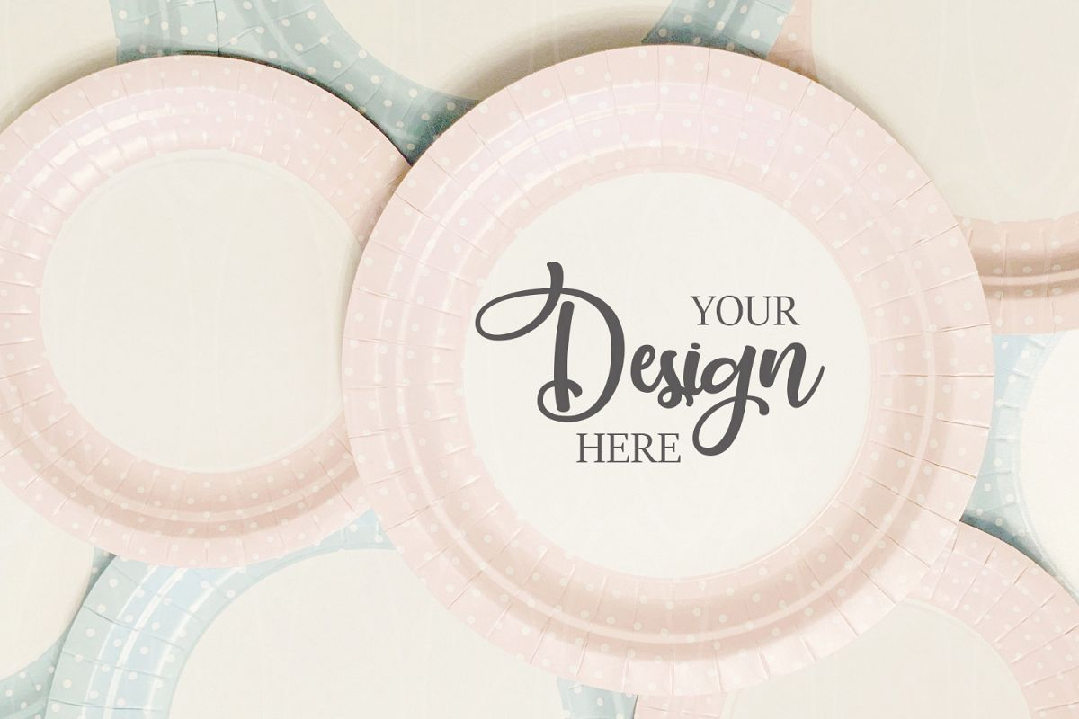 Styled Photography Product mockup Blue and pink plates example image 1