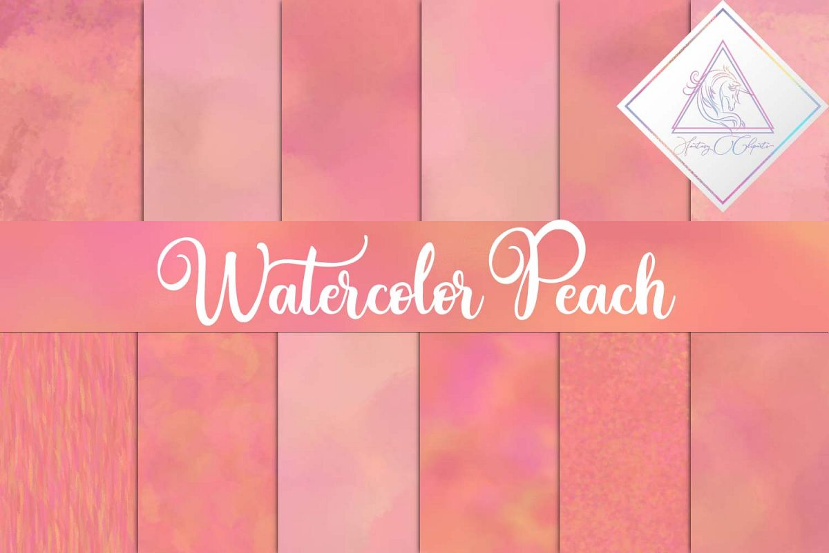 Watercolor Peach Digital Paper example image 1