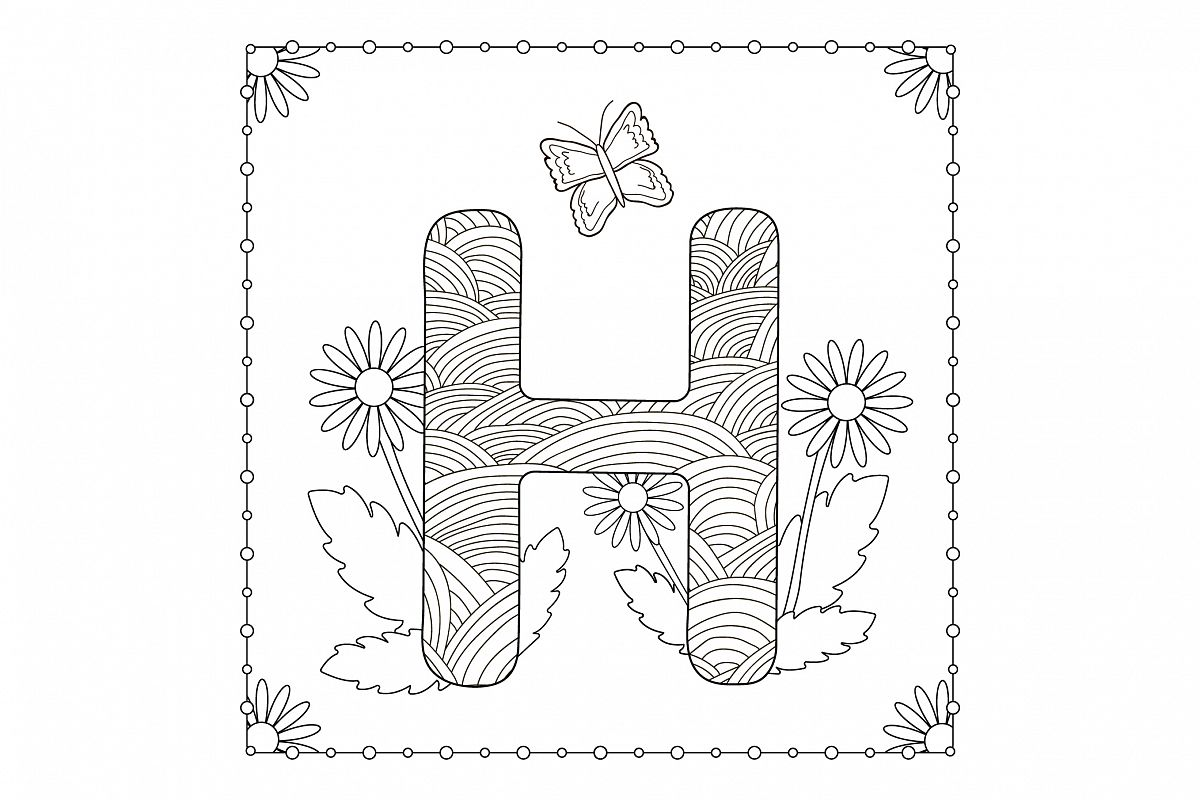 Letter H. Flowers. Coloring page. example image 1