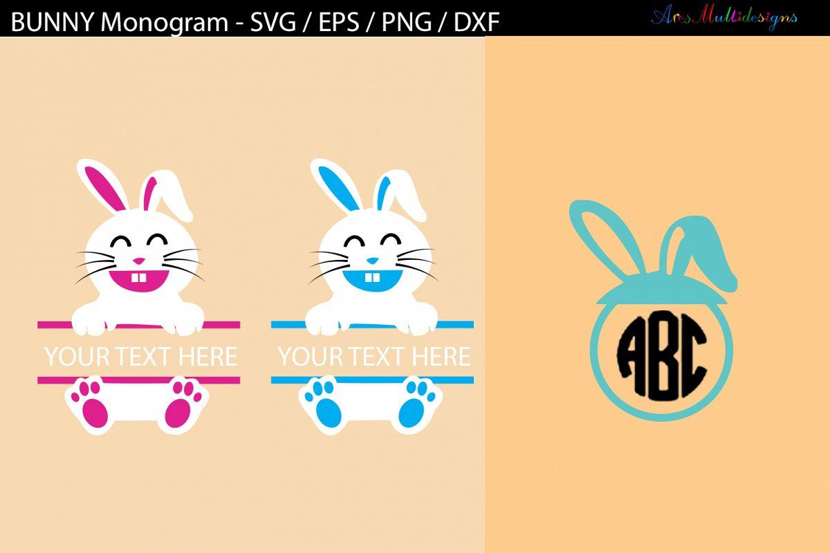 Easter bunny monogram SVG cut files / bunny monogram example image 1