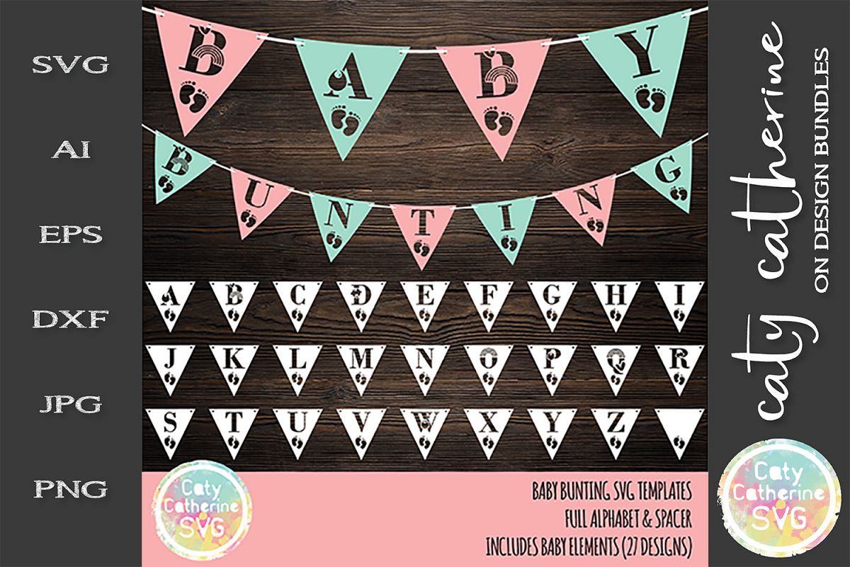 Baby Bunting SVG Templates Full Alphabet A-Z Cut File example image 1
