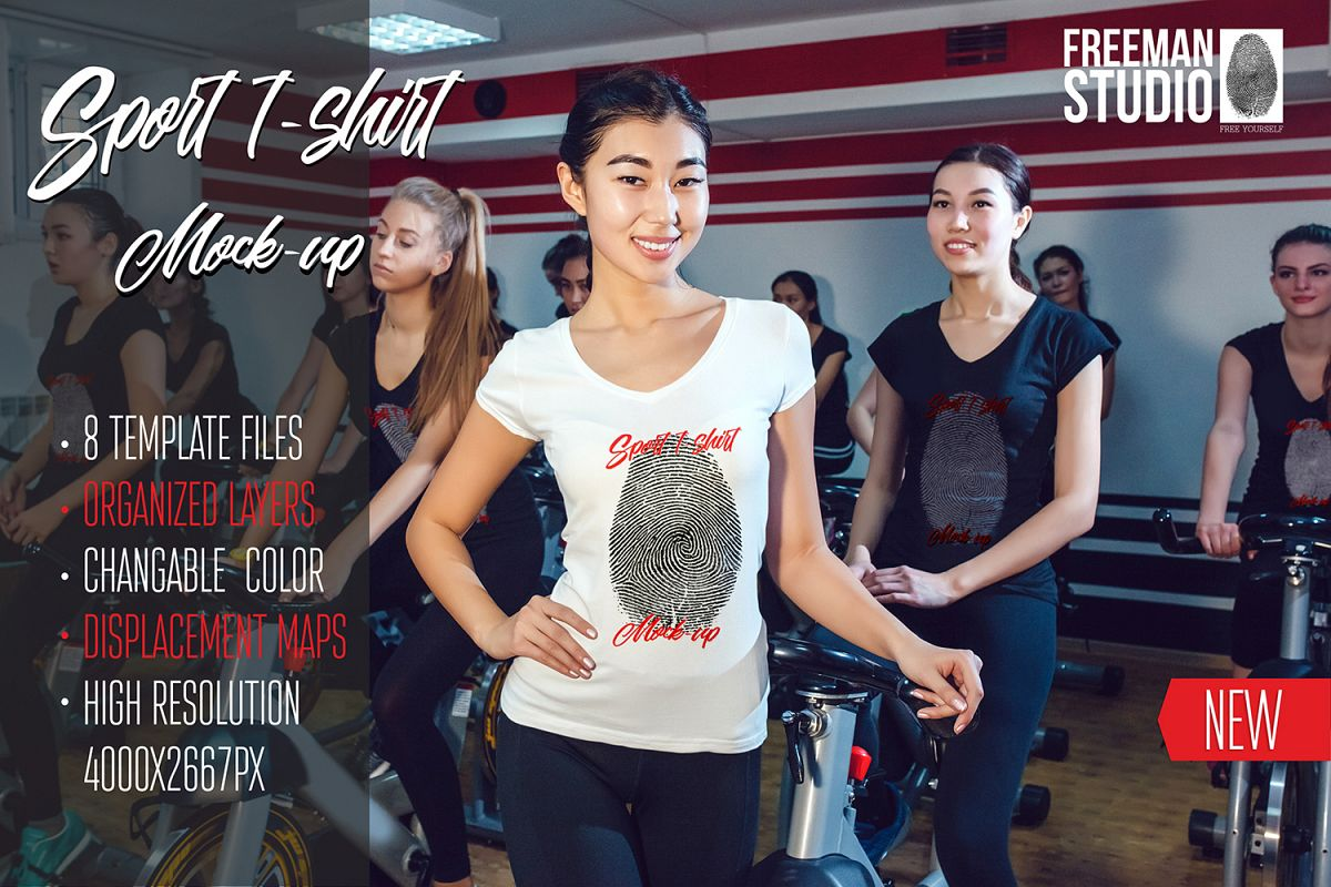 Asian Girl Sport T-Shirt Mock-Up example image 1