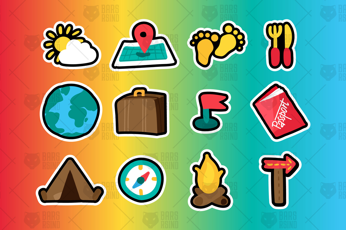 Travel and camping stickers set example image 1