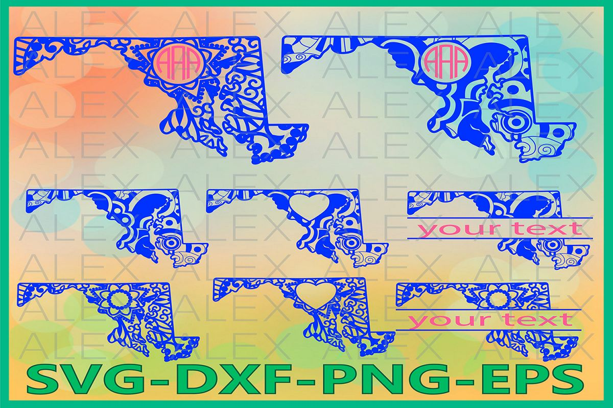 Maryland State SVG, Maryland Mandala SVG, Zentangle svg example image 1