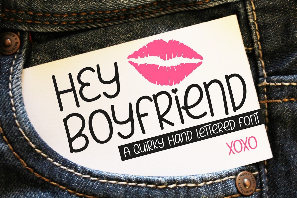 Hey Boyfriend - A Smooth Quirky Hand Lettered Font by DWS example image 1