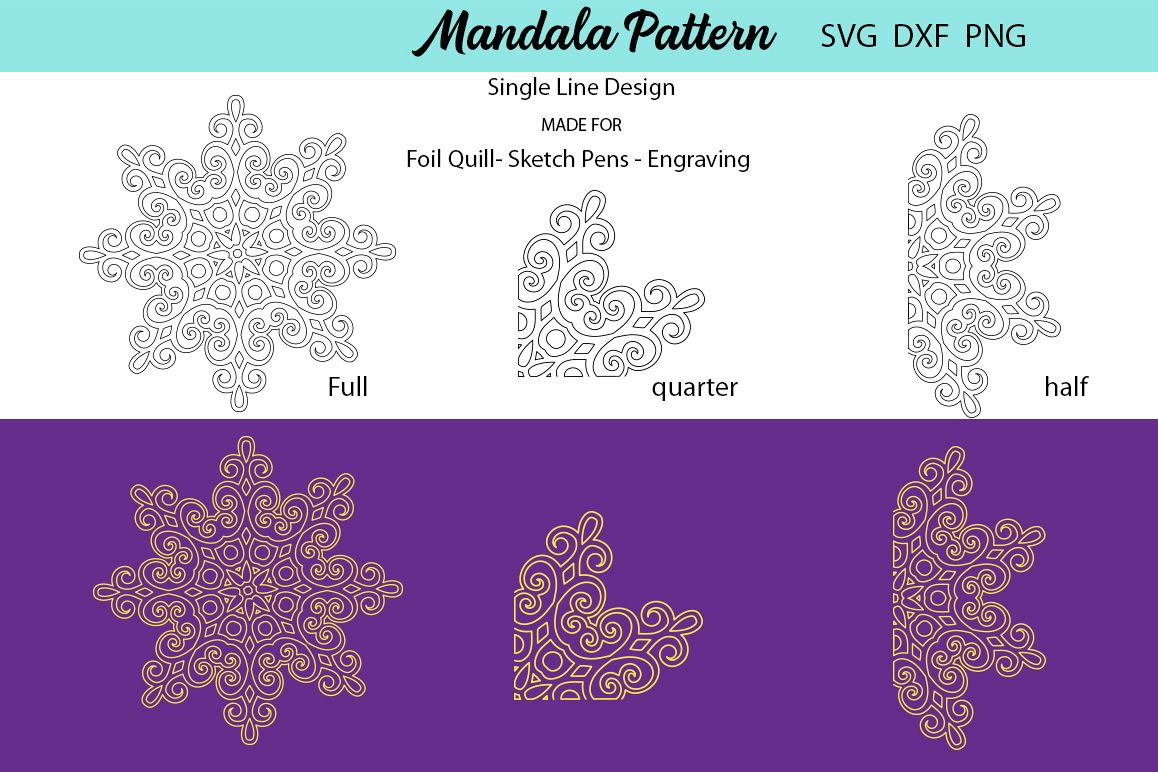 Mandala Single Line Design - Foil Quill example image 1