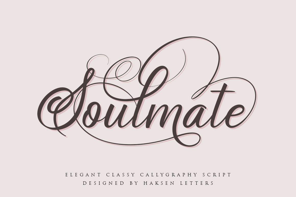Soulmate//Luxury beauty calligraphy example image 1