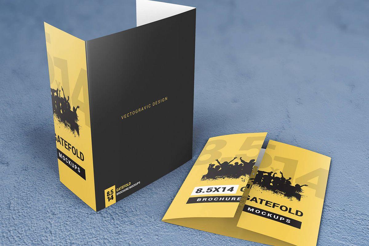 8 5 14 gatefold brochure mockups