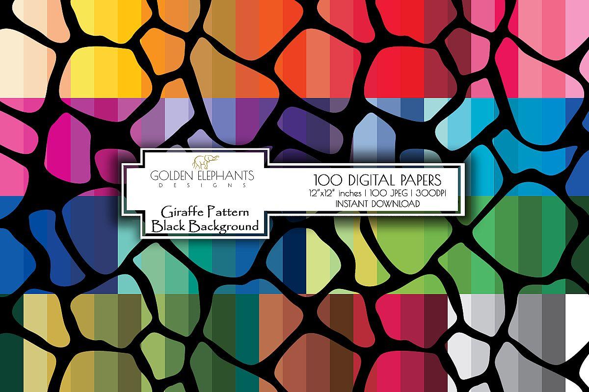 100 Giraffe Pattern w/ Black Background Digital Paper example image 1