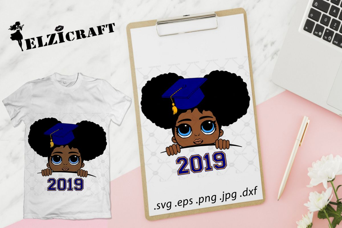 a8854bfe4 Graduated Afro Peeking Baby 2019 SVG Cut File example image 1