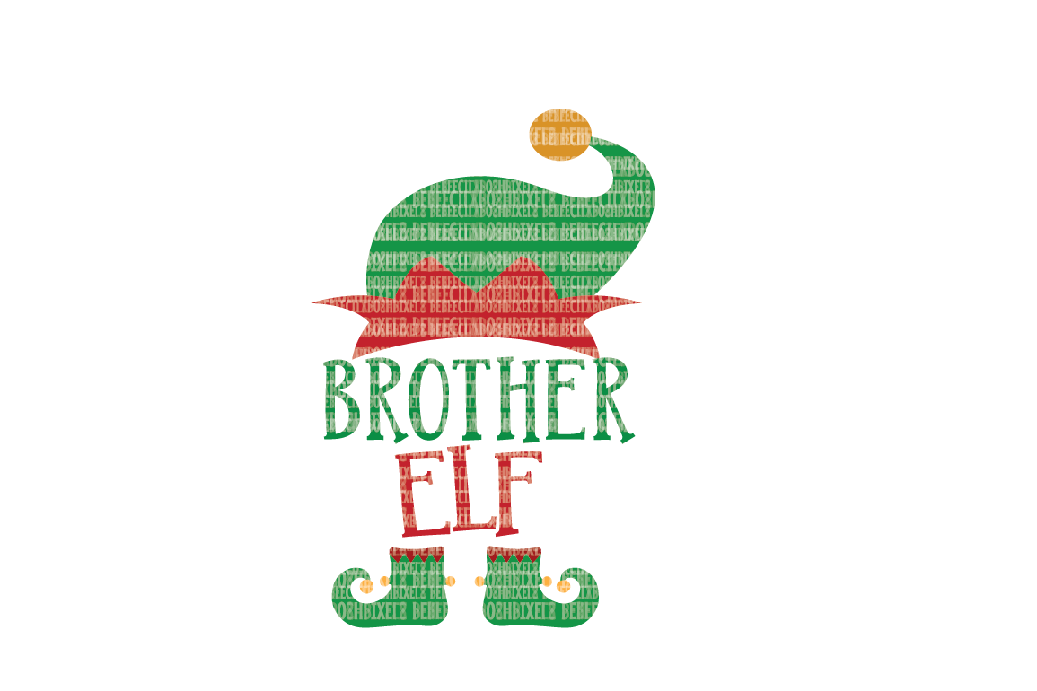 Christmas SVG File, Brother Elf, SVG Files for Cameo and Cricut Design Space, Iron on Decal, Printable Transfer, DXF Commercial Use, example image 1