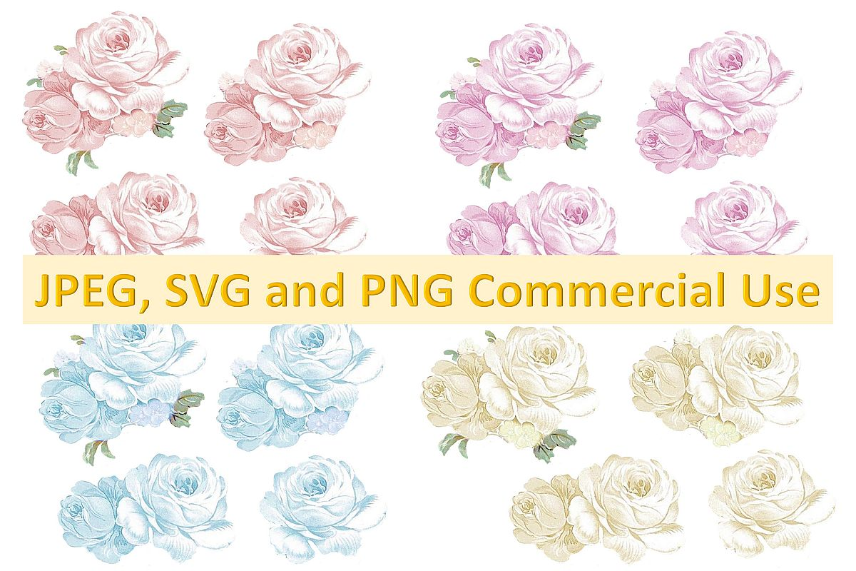 Water Colour roses collage and decoupage Clip art CU example image 1