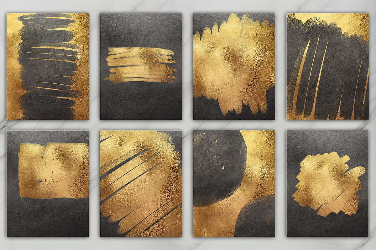 Gold and Black Brush & Foil 20 Textures example image 1