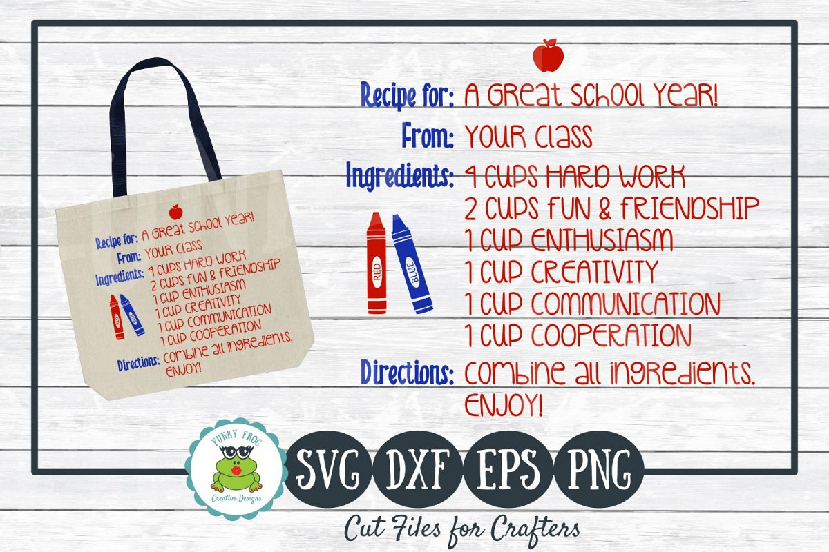 Recipe for A Great School Year - Teacher SVG Cut File example image 1