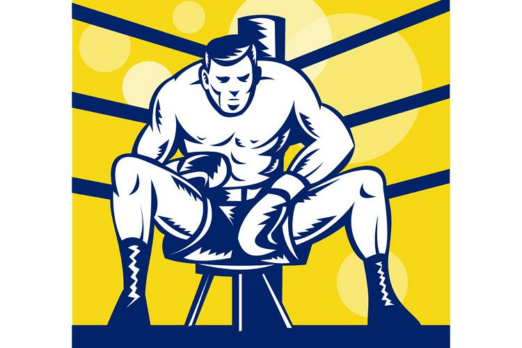 Boxer sitting on stool front view example image 1