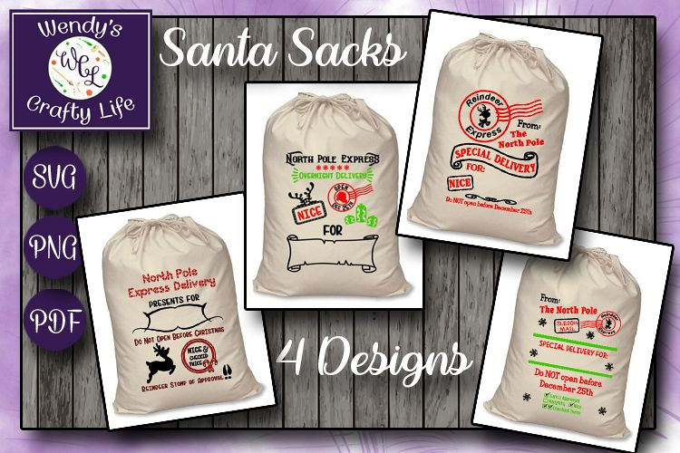 Santa Sack digital bundle of 4 designs - SVG, PNG & PDF example image 1
