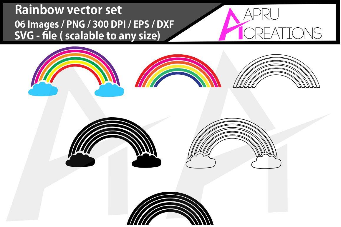Rainbow vector set Rainbow svg rainbow silhouette