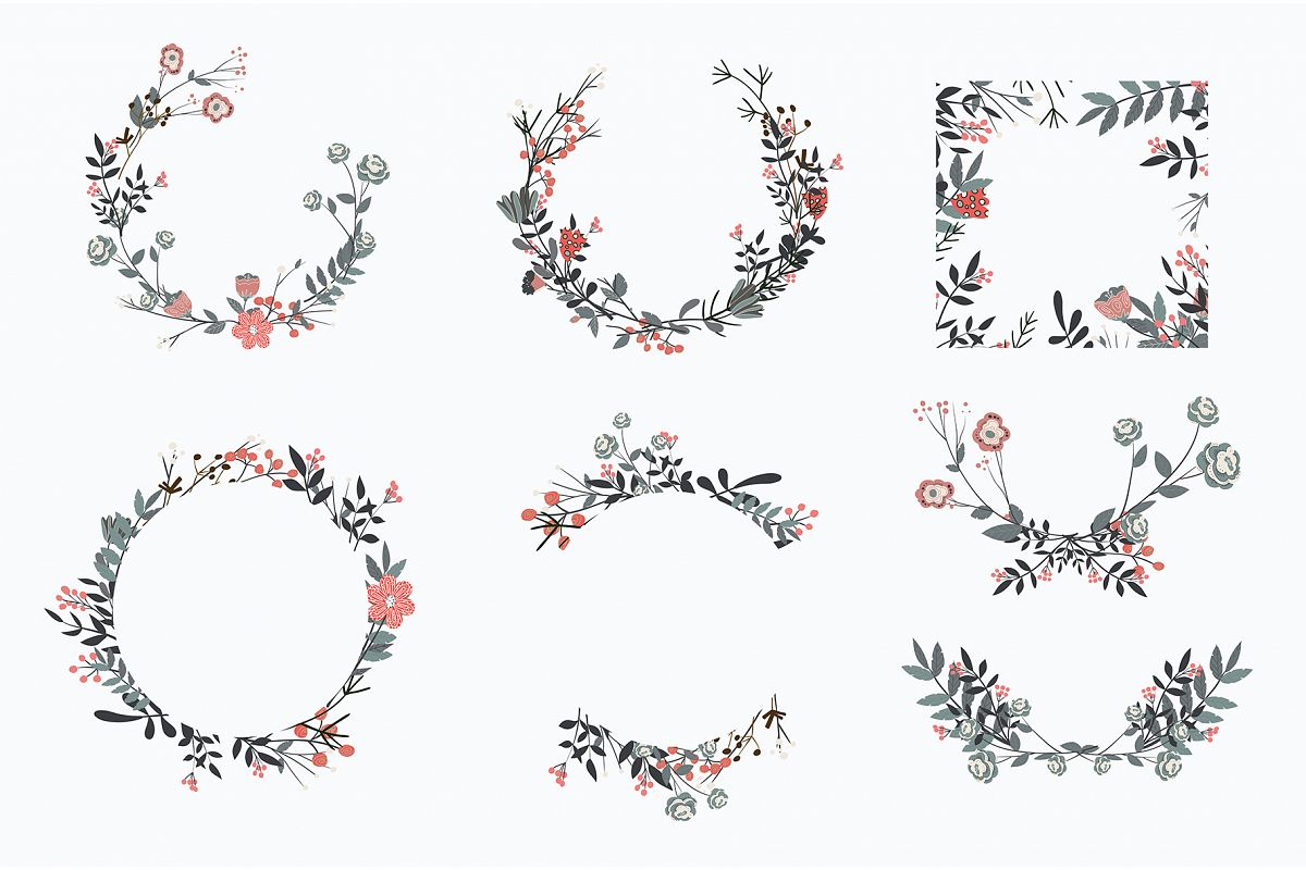 Hand drawn set of different floral vector leaves, example image 1