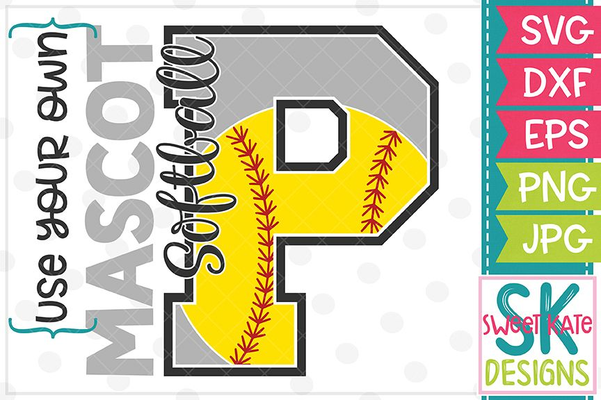 Your Own Mascot P Softball SVG DXF EPS PNG JPG example image 1