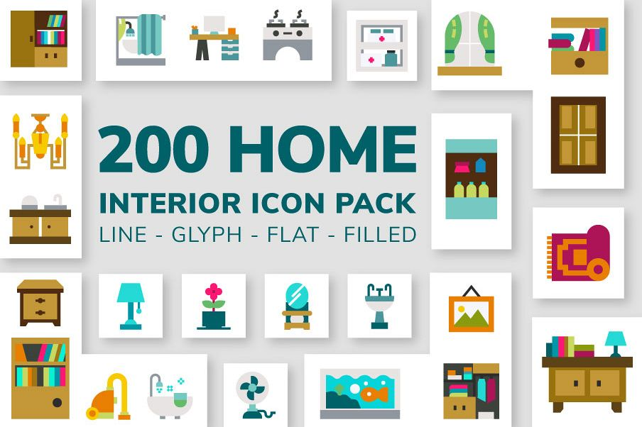 200 Home Interior Icon Pack example image 1