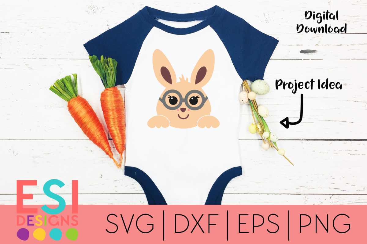 Easter SVG | Cute Easter Bunny with Glasses| SVG DXF EPS PNG example image 1