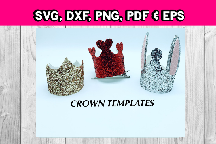 Crowns - clip in hair accessories - hair bow templates - diy example image 1
