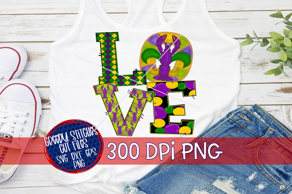 LOVE Mardi Gras Watercolor PNG For Sublimation example image 1