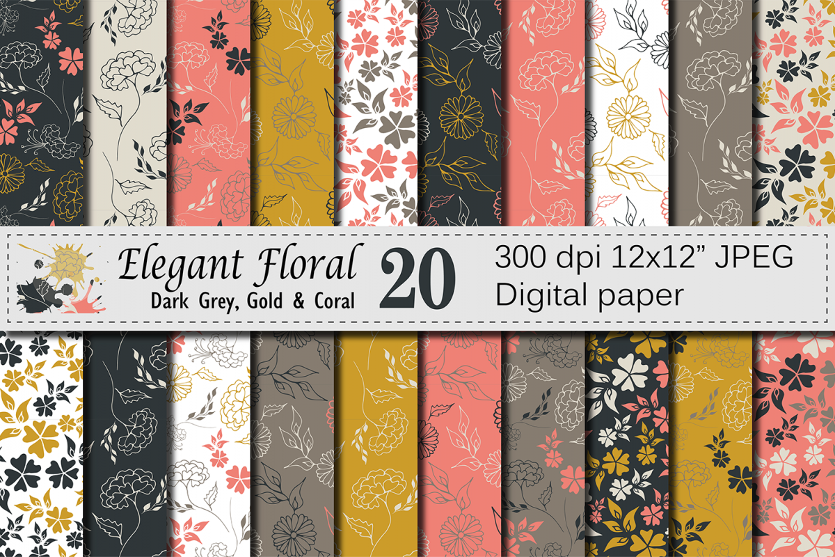 Seamless Elegant Floral Digital Paper with hand drawn flowers - Gray Gold Coral example image 1