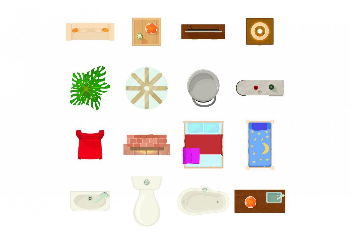 Furniture plan icons set, cartoon style example image 1