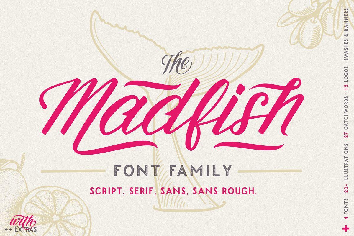 Madfish Font Family  Extras example image 1