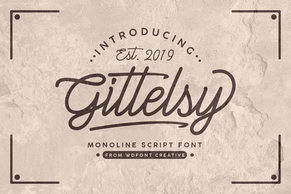 Gittelsy | Monoline Script Font example image 1