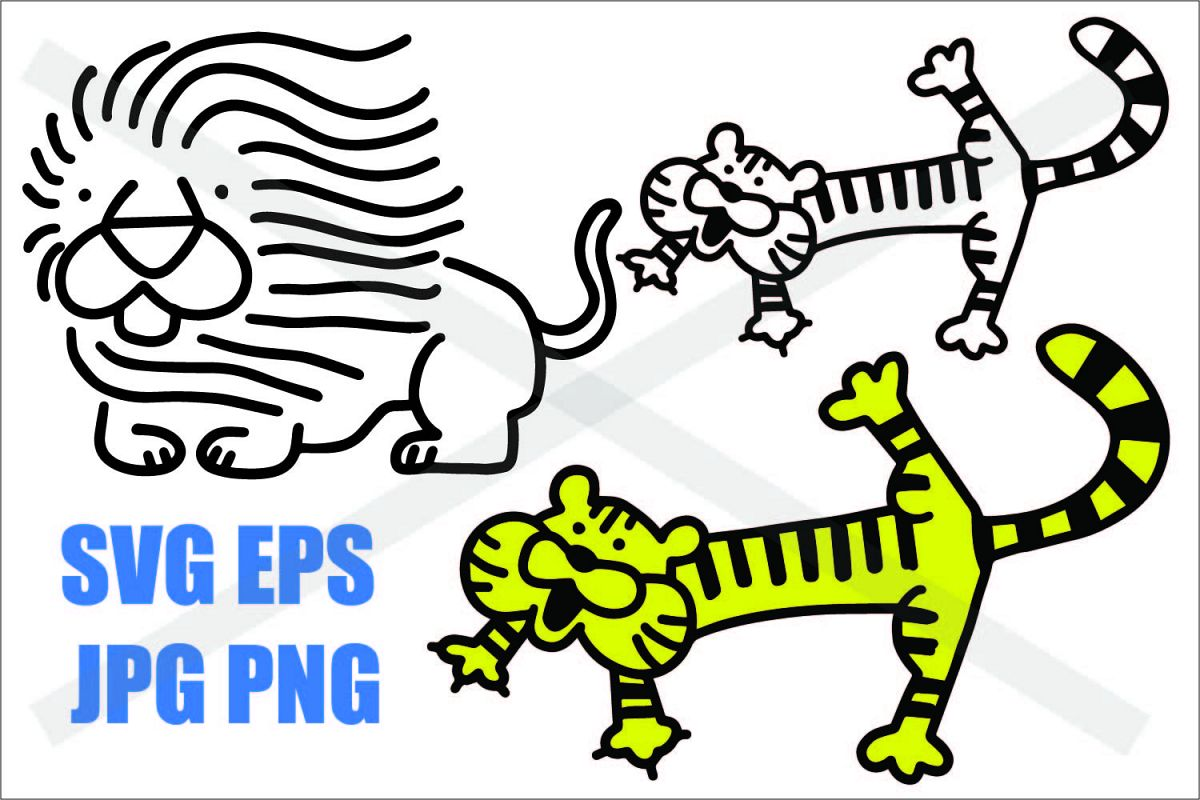 Tiger and Lion - SVG EPS JPG PNG example image 1