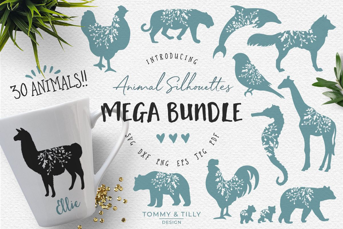 Svg Eps Dxf Png Pdf: Animal Silhouettes Mega Bundle
