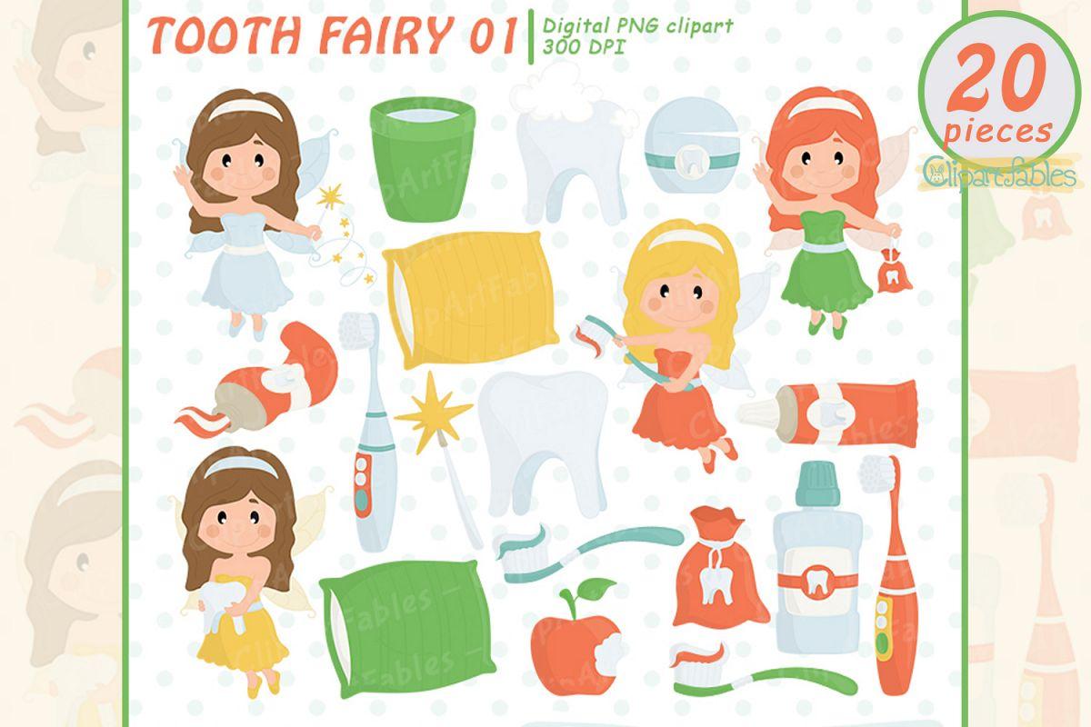 Little Tooth Fairy clipart, Fairy tale clip art, Digital art example image 1