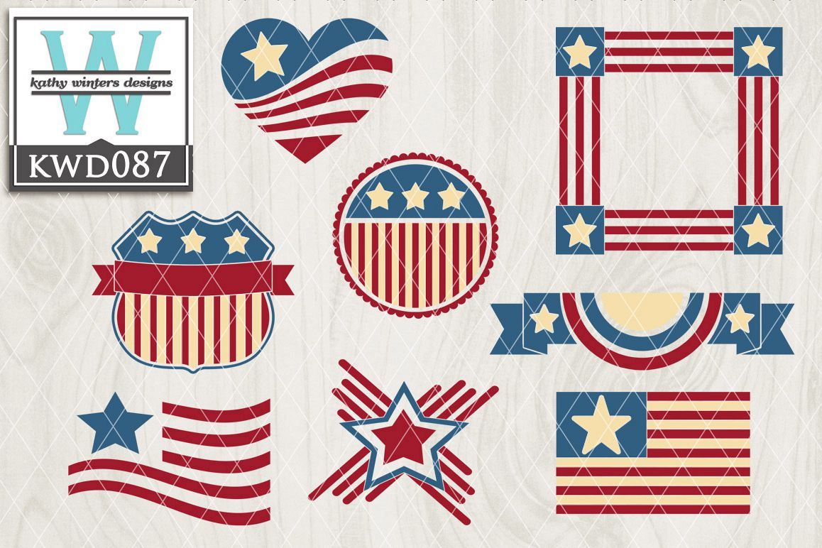 Patriotic Cutting File KWD087 example image 1