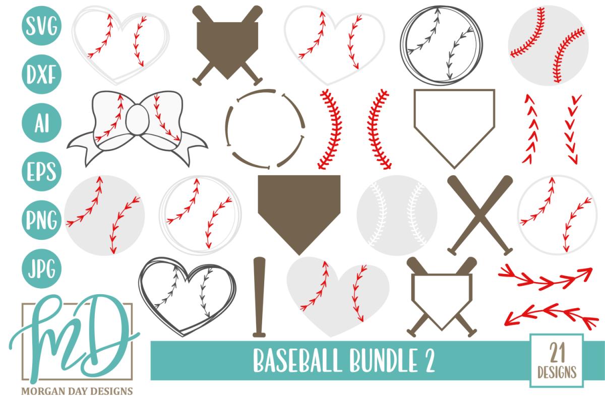 Baseball Heart - Baseball Strings - Baseball Bundle 2 SVG example image 1