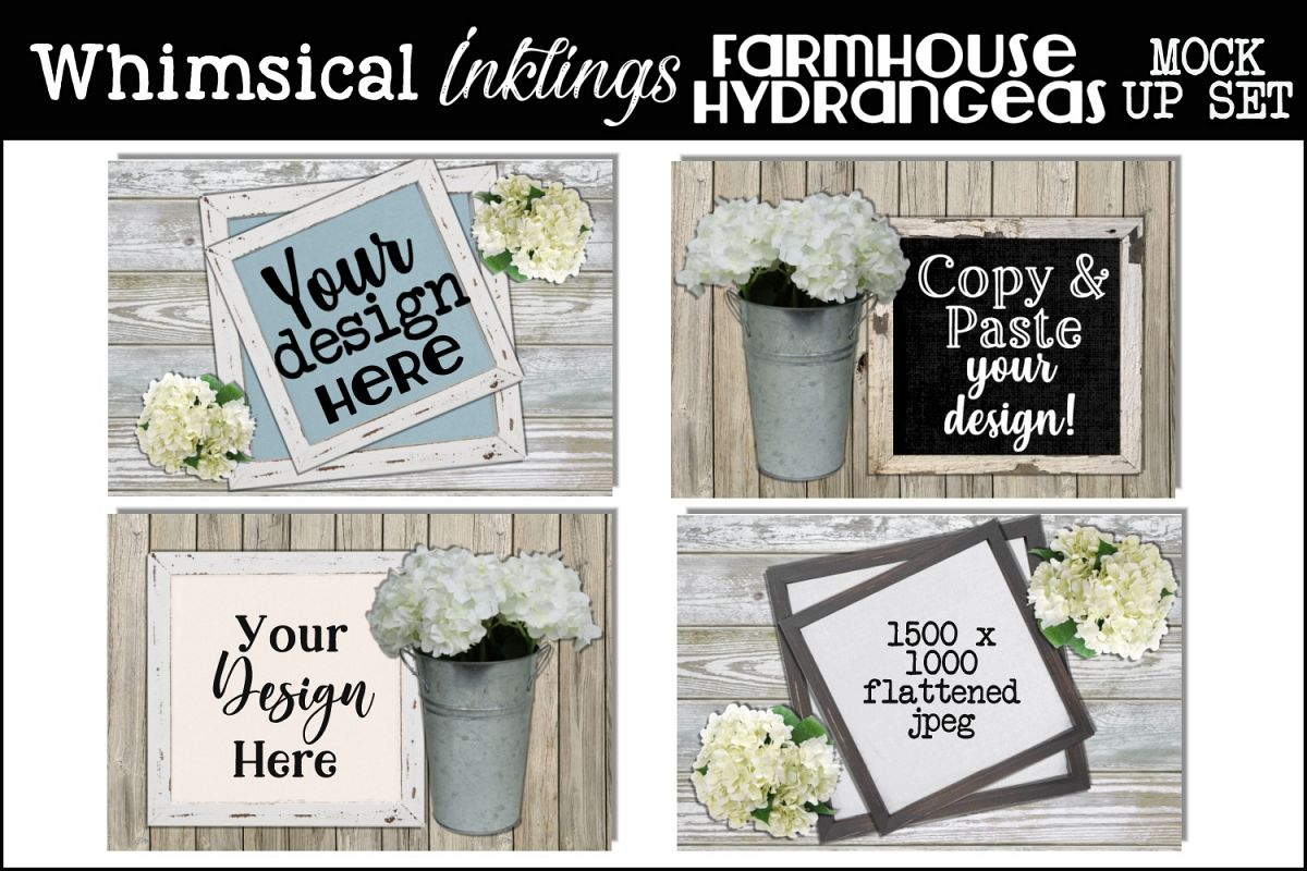 Farmhouse Hydrangeas Mock Up Set example image 1