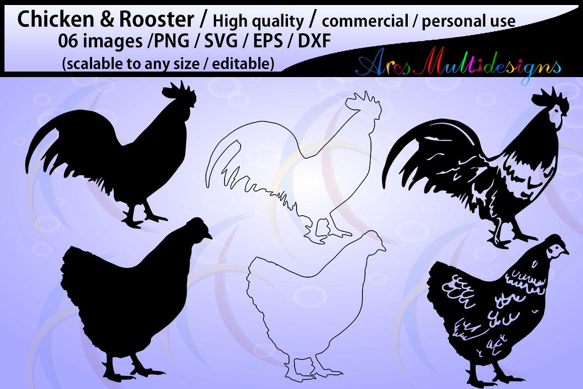 chicken and rooster silhouette / commercial & personal use/ silhouette / cricut,cameo,Diy cut / SVG / Eps / Dxf / Png / animal silhouette example image 1